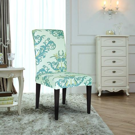 4PCS Spandex Printed Fit Stretch Dinning Room Chair Slipcovers (4, Green) 2
