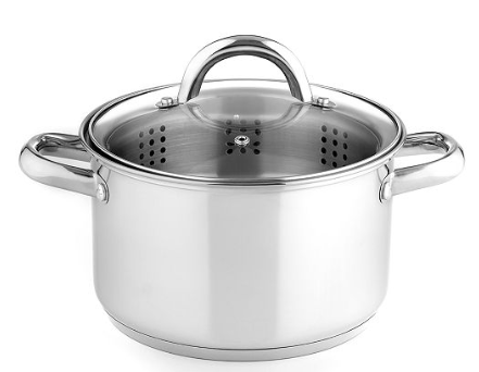 Stainless Steel 4 Qt. Soup Pot with Steamer Insert