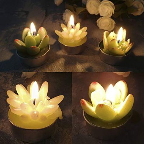 Succulent Tealight Candles, 6 Pcs 1