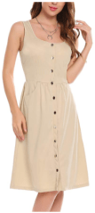 Women Casual Square Collar Sleeveless Pocket Button A-Line Dress