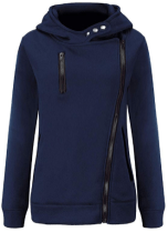 Women Oblique Zipper Front Pocket Long Sleeves Solid Color Casual Pullover Tops Hoodie 1