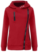 Women Oblique Zipper Front Pocket Long Sleeves Solid Color Casual Pullover Tops Hoodie