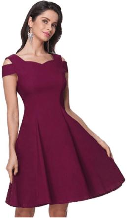 Womens Cold Shoulder Cocktail Dress