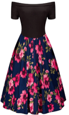 Womens Off Shoulder High Waist Flower Print A-Line Vintage Sleeve Cocktail Swing Party Dress 2