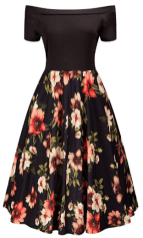 Womens Off Shoulder High Waist Flower Print A-Line Vintage Sleeve Cocktail Swing Party Dress