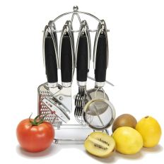 8 Cooking Handy Design Utensils Stainless Steel Kitchen Tool Set, Large, Black