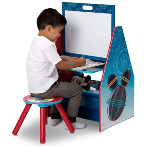 Delta Children Activity Center with Easel Desk, Stool, Toy Organizer, Disney Mickey Mouse 2