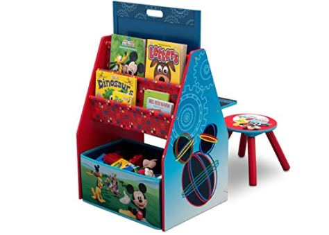 Delta Children Activity Center with Easel Desk, Stool, Toy Organizer, Disney Mickey Mouse