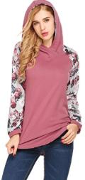 Women's Casual Floral Print Long Sleeve Hoodie Pullover Hooded Sweatshirt Tops