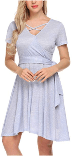 Women Lace Short Sleeve Round Neck Summer Flared Midi Dress with Belt 1