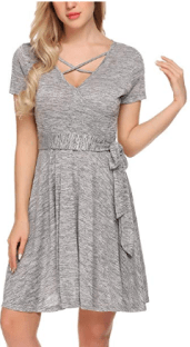 Women Lace Short Sleeve Round Neck Summer Flared Midi Dress with Belt 2