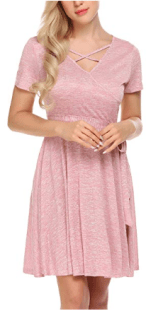 Women Lace Short Sleeve Round Neck Summer Flared Midi Dress with Belt