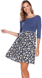 Women's 3 4 Sleeve Off Shoulder Patchwork Flower Floral Print Casual Dress