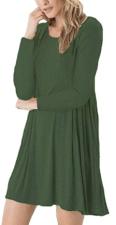 Women's Long Sleeve Swing Loose Flowy Short Casual Tunic Shirt Mini Dress 2