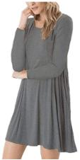 Women's Long Sleeve Swing Loose Flowy Short Casual Tunic Shirt Mini Dress 3