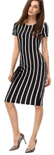 Women's Short Sleeve Classy Solid Stretchy Wear to Work Pencil Dress 2