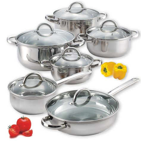 12-Piece Stainless Steel Cookware Set AB