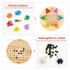 2 in 1 Chinese Checkers & Gobang (Five in a Row) Wooden Board Game 3