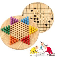 2 in 1 Chinese Checkers & Gobang (Five in a Row) Wooden Board Game