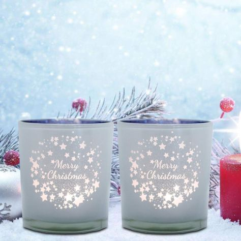 3.14 inch Christmas Candle Holders (Set of 2) 1
