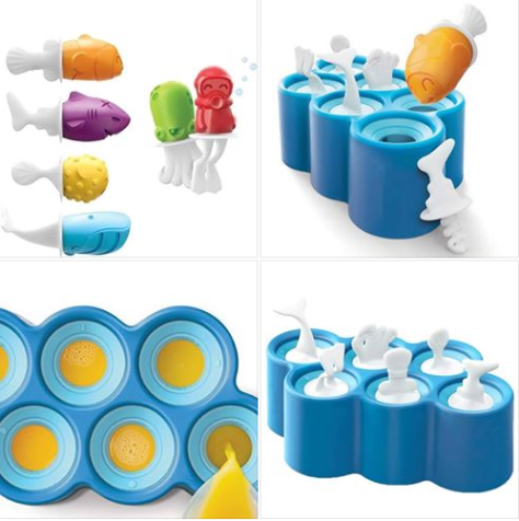 6 Different Easy-Release Silicone Popsicle Molds in One Tray