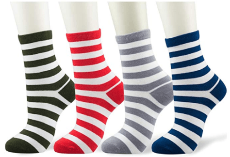 Fashion Stripe Casual Cotton Crew Socks for Men and Women 4 Pairs
