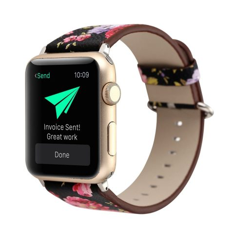 Floral Printed Leather Watch Band Strap for Apple Watch