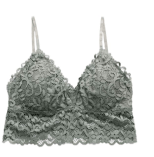 Triangle Lace Wireless Bralette for Women with Removable Pads, Pullover V-Neck Lined Bra