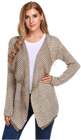 Women's Long Sleeve Pointelle Draped Open Front Knit Cardigan