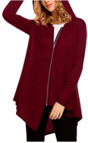 Women's Zip up Hoodies Pockets Tunic Sweatshirt Long Hoodie Outerwear Asymmetric Jacket 2
