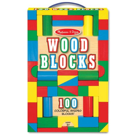 Wooden Building Blocks Set - 100 Blocks in 4 Colors and 9 Shapes