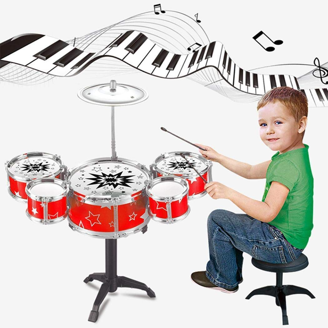 Amazon: Kids Deluxe Jazz Drums Kit Musical Instrument Toy with Cymbal Stool Christmas Birthday Gift for $9.77 w/code