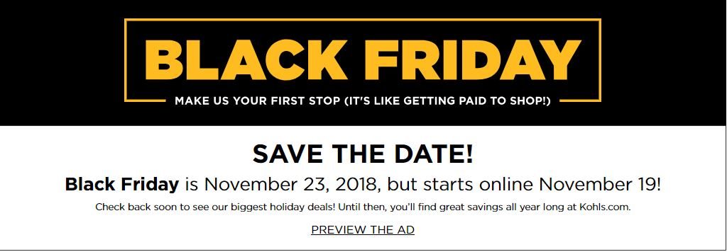 Kohl's Black Friday Deals Live Online at 12:01AM CT on November 19th