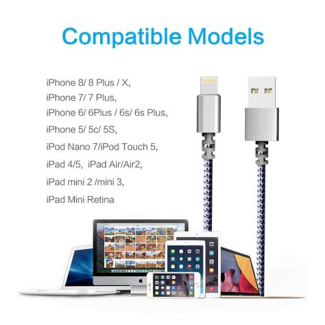 3-Pack 6-Feet Extra Long Charging Cable Durable Fast Charging 1