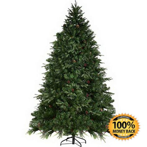 7FT Artificial Christmas Pre-Lit Spruce Hinged Tree W 460 LED Lights and Pine Cones (7 ft), Green 1