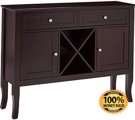 Dark Cherry Finish Wood Wine Cabinet Breakfront Buffet Storage Console Table 1