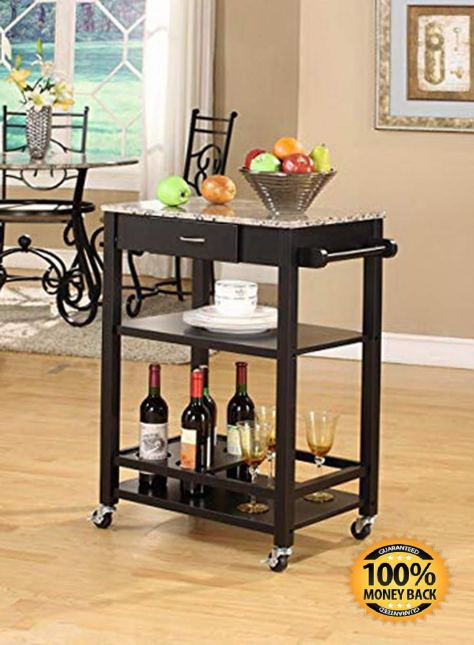 Marble with Wood Kitchen Buffet Serving Cart, Black Finish