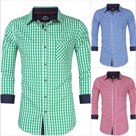 Men's Casual Classics Oktoberfest costumes Turn-down Collar Long Sleeve Check Shirt.png