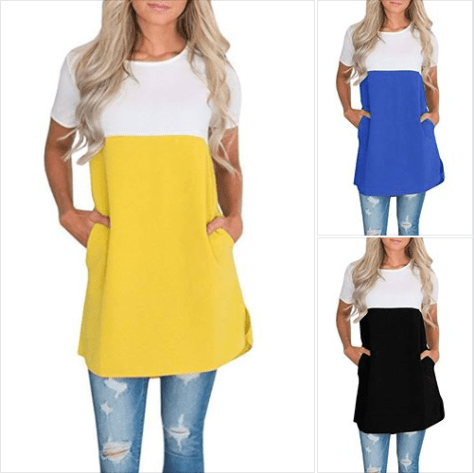 Womens Color Block Round Neck Short Sleeve T-Shirt Tunic Tops with Pockets