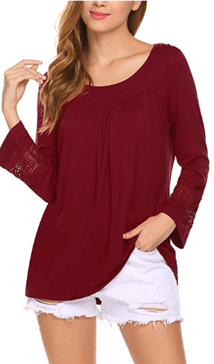 Amazon : Women's Lace Long Sleeve Loose Tops Just $4.20 W/Code (Reg : $13.99) (As of 12/13/2018 11.50 AM CST)