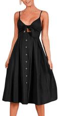 Womens Sleeveless Summer Spaghetti Strap Button Down Swing Midi Sundresses 2