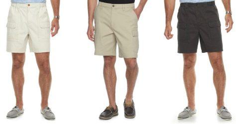 Mens-Croft-Barrow-Classic-Fit-Side-Elastic-Cargo-Shorts