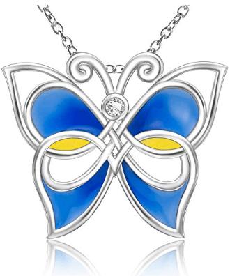 Sterling Silver Unique Elegant Purple or Blue Celtic Butterfly Pendant