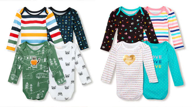 Baby Long Sleeve Bodysuit 4-Pack $7.49 + FREE Shipping (Regularly $30)