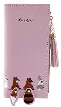 Women Cartoon Animal Embroidery Tassel Wallet 2