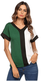 Women Casual O Neck Short Sleeve Color Block T-Shirt Top 2