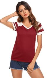 Women Casual O Neck Short Sleeve Color Block T-Shirt Top.png 1