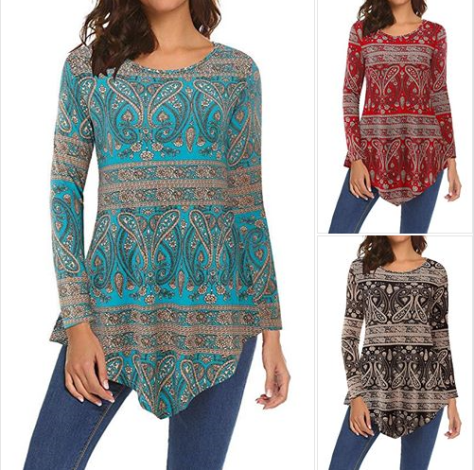 Womens Floral Tunic Shirts Long Sleeve Tunic Top with Pocket.png