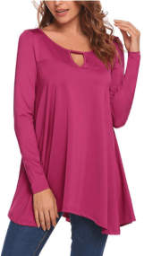 Womens Long Sleeve Keyhole Flattering Comfy Tunic Loose Fit Flowy Top 1
