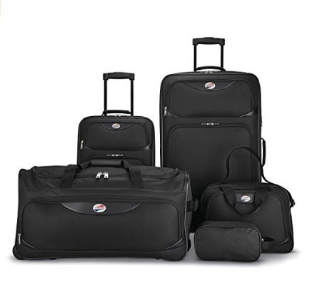 Amazon: American Tourister 5-Piece Softside, Black for $64.99 (reg: $199.99)